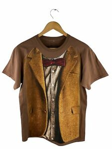 VINTAGE Doctor Who Graphic Print T Shirt Mens Size M Brown Short Sleeve Logo
