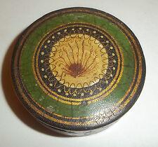 Rare  Early Victorian Handpainted Papier Mache Fern Design Patch Box
