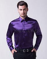 Hombre Polo Larga Manga Camisas de seda Camisas Camisas Formales S M L XL Tops