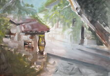 Landscape impressionist gouache painting signed