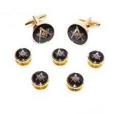 Black & Gold Masons Masonic Mens Gift For him Cufflinks G & 5 Button Stud Set