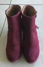 RIVERS Maroon Suede Look Wedge Heel  Zip Up Ankle Boots -size 39  AUS 8