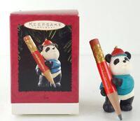 Hallmark SUPER SHARP SON 1995 Keepsake Ornament Panda Bear w/ Pencil Xmas Gift