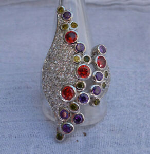 Sterling Silver 925 Seta Signed RING Multi Color Stones and CZ 19.3 Gram Size 12