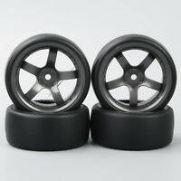 4Pcs RC Car Flat Tires&Wheel Rim 12mm Hex D5M For 1/10 On-Road Drift Car Tyres