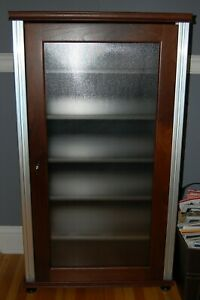 Salamander Synergy CD/Media Storage Cabinet | Walnut w/ Silver Posts | Will Ship
