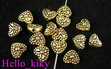 100Pcs  Antiqued gold plt crafted heart spacer beads A416