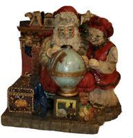 Vtg Mr & Mrs Santa With World Globe Decor Resin Cedar Creek Collection Figurine