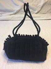 Vintage Black Woven Fabric Purse with Zipper Closure So Cute!