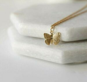 Butterfly necklace stainless steel dainty pendant for women and girls