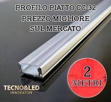 2 MT PROFILO ALLUMINIO PER STRISCE STRIP LED ALLUME PIATTA PROFILATO + COPERTURA