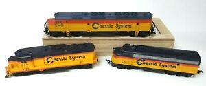 3 TYCO HO scale Model Trains No 4125,C&O & 7071 Chessie System Diesel Locomotive