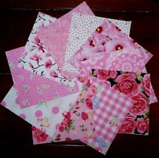 20 Pink Floral Cotton Fabric Quilting Patchwork 5 inch Charm squares #49m