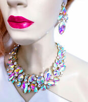 Choker Bib Statement Necklace Earring Set Rhinestone Crystal AB