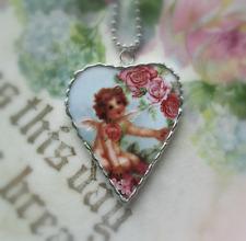 Vintage Recycled Broken China~Sweet Rose Tender~Angel~Heart Pendant~Necklace