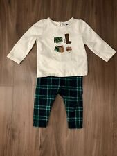 Janie and Jack Baby Girls' Horse Riding Shirt and Green Plaid Pant Set, 3-6M