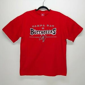 Tampa Bay Buccaneers Mens Red T Shirt Large Metallic Silver Super Bowl Champs