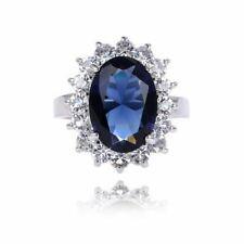 5.6CT Blue Tanzanite White Topaz 925 Sterling Silver Gemstone Ring Size 5-10