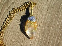 Clear Quartz Crystal & Rough Tanzanite Pendant and Necklace by Solara Solstice