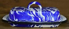 Vintage Style Blue Swirl Enamel Porcelain Butter Dish Farmhouse Decor Kitchen