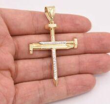 "2.5"" Screw Nail Cross Charm Pendant Diamond Cut Real 10K Yellow White Gold"