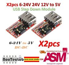 2pcs 6-24V 24V 12V to 5V USB Step Down Module DC-DC Converter