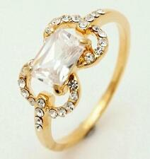 New 10K Yellow Gold Filled White Cubic Zirconia Womens Ring Size 7.5 US P Aus/UK