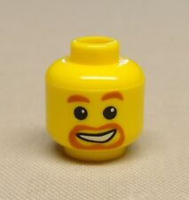 x1 NEW Lego Minifig Head Beard around Mouth, White Smile, White Pupils Pattern