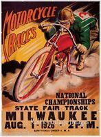 Vintage AMA Motorcycle Racing Poster 1926 Milwaukee Home of Harley Davidson sm