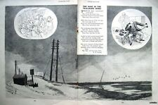 """1950 Punch R P Lister Poem Print E H SHEPARD - """"The Wind in the Telegraph Wires"""""""
