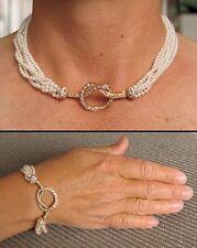 7 STRAND PEARL & DIAMOND NECKLACE/BRACELET SET (18kt YELLOW GOLD)