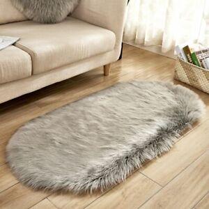 80*180cm Oval Fur Faux Artificial Sheepskin Carpet Washable Fluffy Hairy Wool