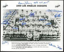 1959 LA Dodgers Team Photo Auto Sherry Craig Klippstein Moon Gray 13Sigs MLI COA