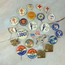 Set of 24 Vintage Assorted Small Political, Medical, Scout Pinback Buttons Pins
