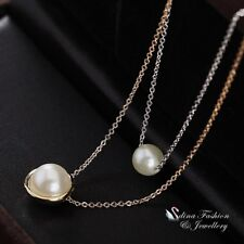 18K White, Rose & Gold Filled Stylish Simulated Pearl Double Layer Necklace