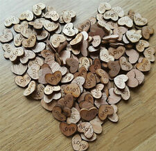 100pcs Rustic Wooden Love Heart Wedding Table Scatter Decoration Crafts GN