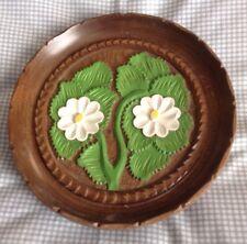 "Carved Wooden Floral Plate Tropical Plant Design 8"""