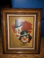 "Vintage 12x16 Canvas Creepy Clown Painting SIGNED ""Davies"""