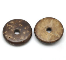 200 perles intercalaire Coquille de Coco Café 15mm Dia.