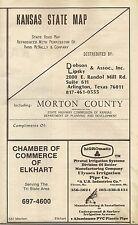 1976 Road Map Monroe County Kansas Elkhart Cimarrron Grasslands Rolla At&Sf Rr