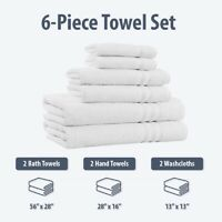 100% Cotton 6 Piece Bath Towel Set Extra Soft & Absorbent Towels - 650 GSM
