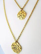 Collier-Kette Edelstahl Gold Vg. Doppelkette Rosen Anhänger Halskette Rose Blume