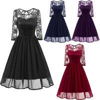 Vintage Lace Floral Swing Dress 1950s Retro Rockabilly Evening Cocktail Dress