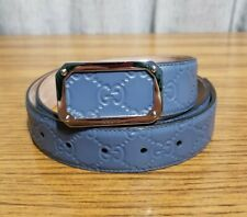 Gucci Authentic Signature Men's Blue Leather Belt Rectangular Buckle Size 38