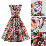 Vintage Retro Flower Floral Print Dress Casual Mini Pleated Fullskirt Size S-2XL