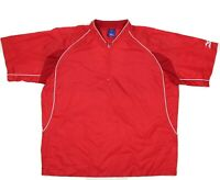 MIZUNO Mens Sz M Red 1/4 Zip Short Sleeve Windbreaker Pullover Baseball Jacket