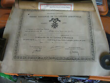 diplome ordre national chevalier legion d'honneur 1931