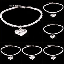 New Family Charm Silver Heart Mom Sister Rope Leather Bracelets Bangle Jewellery
