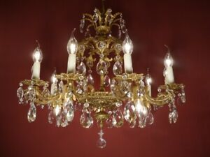 BRASS CRYSTAL CHANDELIER 2 CROWNS VINTAGE LAMP CLASSIC 15 LIGHT Ø 28""