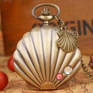 Vintage Shell Design Men Women Quartz Pocket Watch Full Hunter Necklace Chain